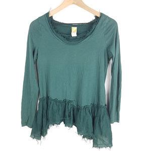 C. Keer Anthro Green Frayed Hem Shirt Sz XS